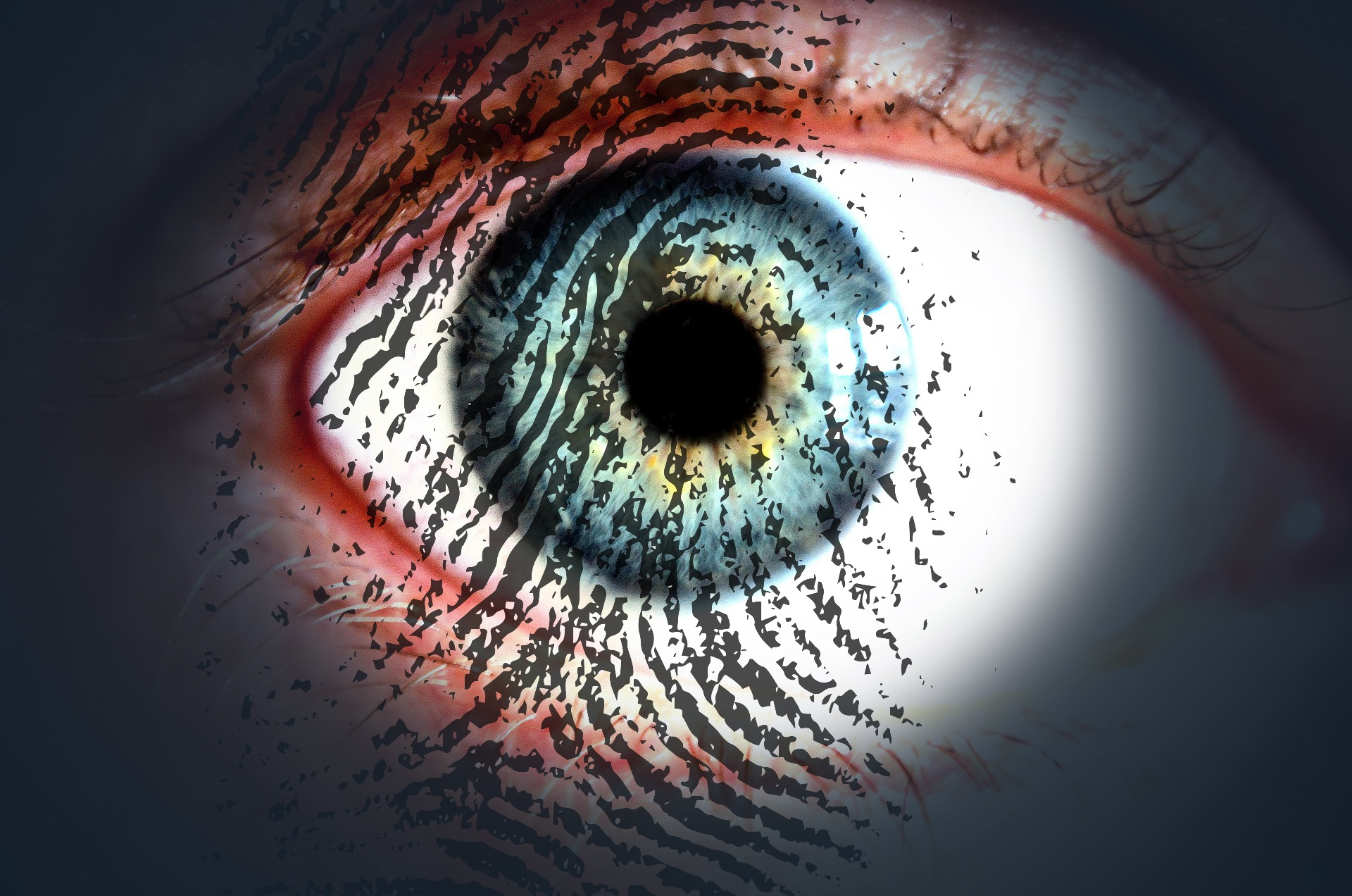 Photo of eye and fingerprint superimposed: Forensics