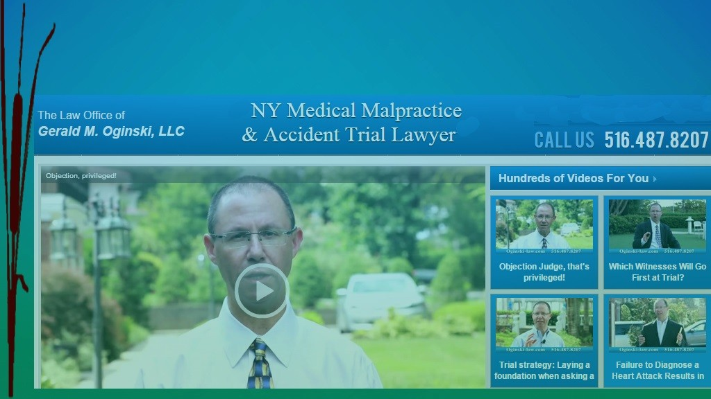 Web page screenshot of Trial Atty Gerald Oginski LLC - Malpractice and Accident Trial Atty