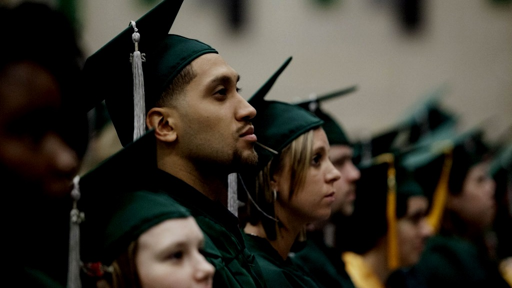 Photo of graduates wearing cap and gown