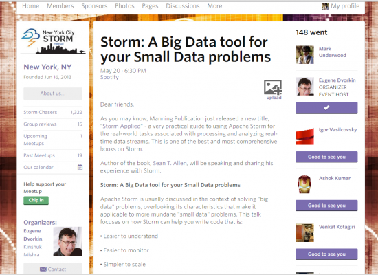 Screenshot: NYC Storm Meetup page for 2015-05-20