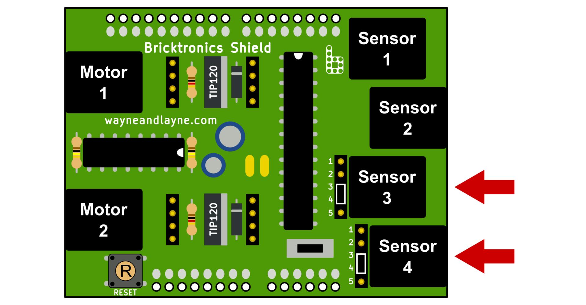 Photo of circuit layout for NXT Touch Sensor from Wayne and Layne | https://www.wayneandlayne.com/bricktronics/sensors/