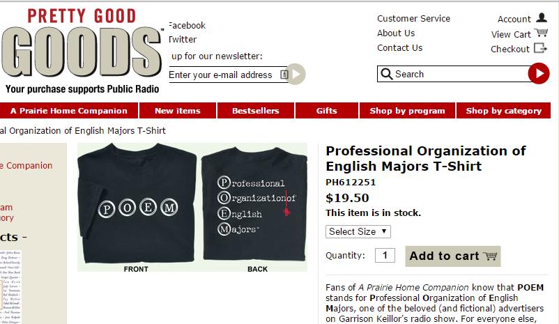 Pretty Good Product page via Garrison Keillor - screenshot