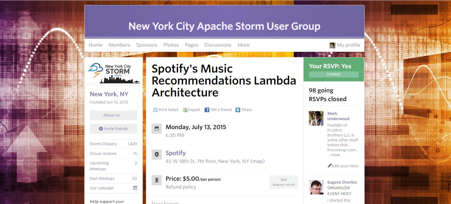 NYC Storm Meetup at Spotify
